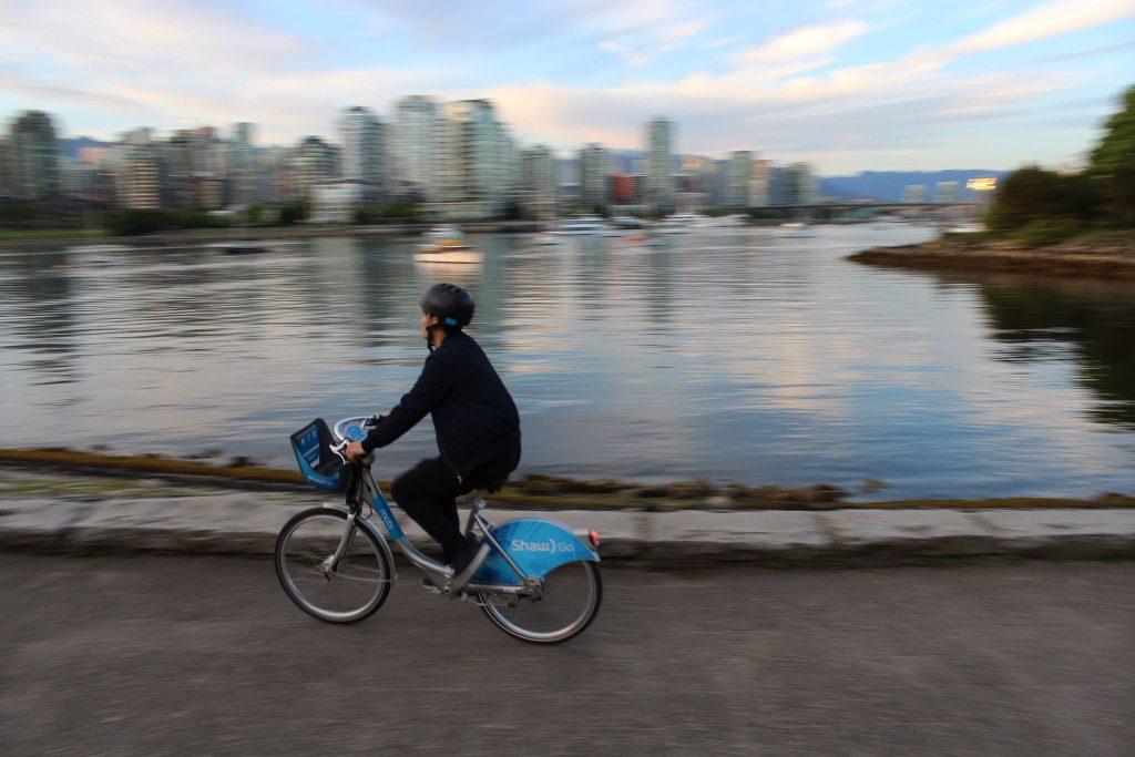 Cyclist on sea wall