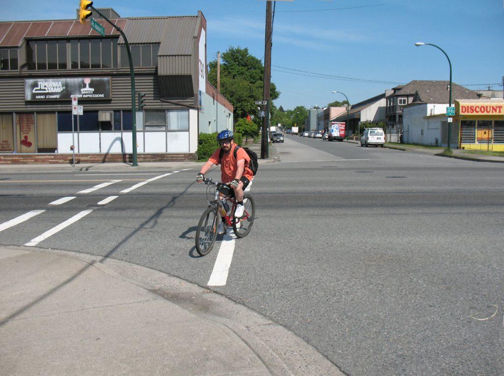 cyclist crossing Clark Drive